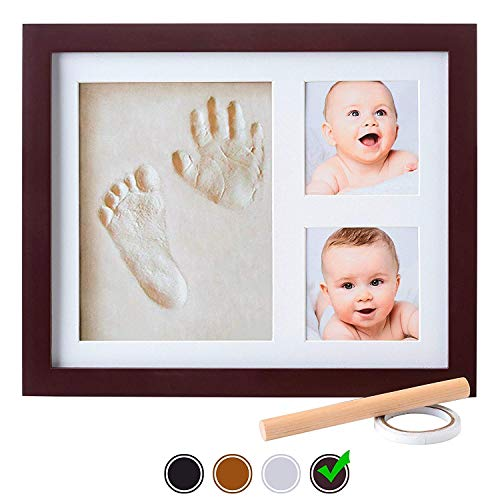 Baby Handprint Kit |NO Mold| Baby Picture Frame, Baby Footprint kit, Perfect for Baby Boy Gifts,Top Baby Girl Gifts, Baby Shower Gifts, Newborn Baby Keepsake Frames (Standard, Espresso)