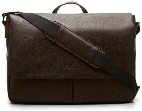 Kenneth Cole Reaction Distressed Echo Vegan Leather Flapover Crossbody Anti-Theft RFID Bag, Brown, Laptop Messenger