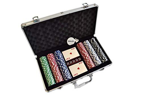 HAN'S DELTA Poker Chip Set 11.5 Gram for Texas Holdem, Blackjack, Casino Gambling with Aluminum Case, Cards, Dealer Button (Choose 300 or 500 Chips Set) (300 Chips Set)
