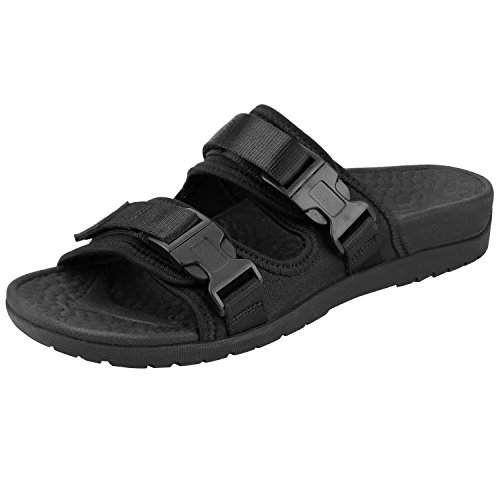 EVERHEALTH Orthotic Sandals Women Arch Support Buckle Slides Sandal for Plantar Fasciitis Outdoor Slippers Black