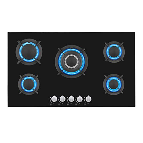 Empava 34 Inch Gas Cooktop Professional 5 Italy Sabaf Burners Stove Top Certified with Thermocouple Protection in Black Tempered Glass