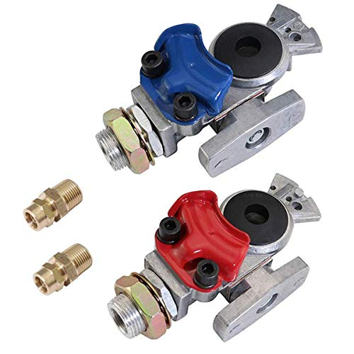 KOOTANS 1 Pair Service Emergency Gladhands with Valve Switch Die Cast Aluminum Valve Glad Hands Universal Air Hose Brake Coupling Connector Handshake Kit for Truck Semi Trailer Tractor RVs