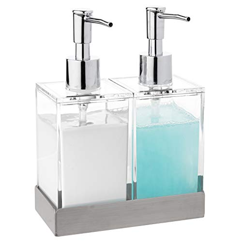 Modern Innovations Acrylic Twin Liquid Soap and Lotion Dispenser Set with Caddy - Double Soap Dispenser for Kitchen Sink - Clear Soap Dispenser for Bathroom, Shampoo, Conditioner, Body Wash