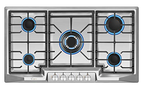 Empava EMPV-36GC23 36 Inch Stainless Steel Gas Cooktop Professional 5 Italy Sabaf Burners Stove Top Certified with Thermocouple Protection Silver