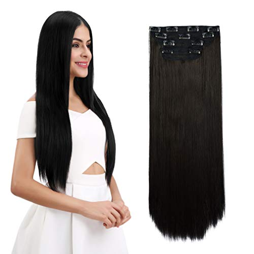 REECHO 24' Straight Long 4 PCS Set Thick Clip in on Hair Extensions Black Brown