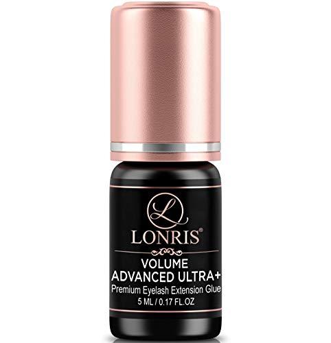 7-8 Weeks Retention/Eyelash Extension Glue Volume Advanced Ultra+ LONRIS Lash 5 ml/1-2 Sec Drying time/Maximum Bonding/Semi-Permanent Extensions Supplies/Professional Use Only Black Adhesive