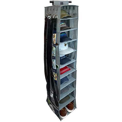 THE ULTIMATE HAT RACK 10 Shelf Hanging Closet Hat Organizer for Hat Storage - Keep Your Baseball Caps and Baseball Hats in Great Condition - Hat Holder & Baseball Cap Organizer w/Tie & Belt Side Hooks