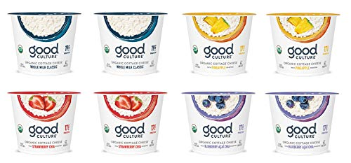 Good Culture, Organic Cottage Cheese, Classic, Pineapple, Strawberry, Blueberry 5.3 oz (8 Pack)