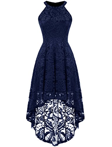 Dressystar 0028 Halter Floral Lace Cocktail Party Dress Hi-Lo Bridesmaid Dress Navy M