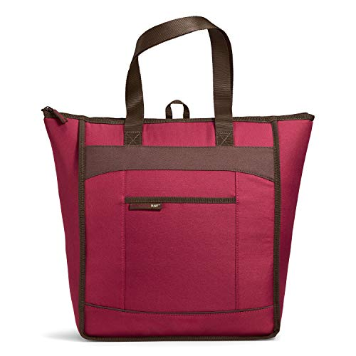 Rachael Ray 5060RR2579, Burg ChillOut Thermal Tote Bag for Cold or Hot Food, Insulated, Reusable, Burgundy, 18.5' X 6' X 16.5
