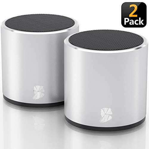 [2 Pack] HeadSound H2 True Wireless Bluetooth Speakers, Latest Powerful Dual Twin Portable Mini Speaker Set w/Surround HD Sound, Instant Pairing with Built in Mic for HandsFree Calls for Home (Silver)