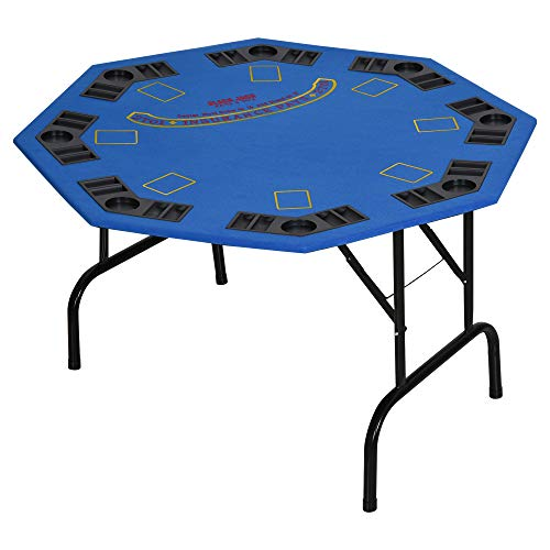 Soozier 47' 8 Player Folding Octagon Poker Table Blackjack Poker Game with Cup Holders