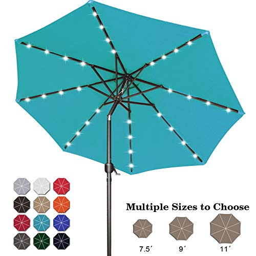 ABCCANOPY 9FT Patio Umbrella Ourdoor Solar Umbrella LED Umbrellas with 32LED Lights, Tilt and Crank Table Umbrellas for Garden, Deck, Backyard and Pool,12+Colors, (Turquoise)