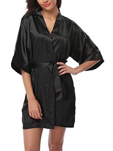 FADSHOW Women's Satin Kimono Robes Short Silk Bathrobes Loungewear,Black,Small