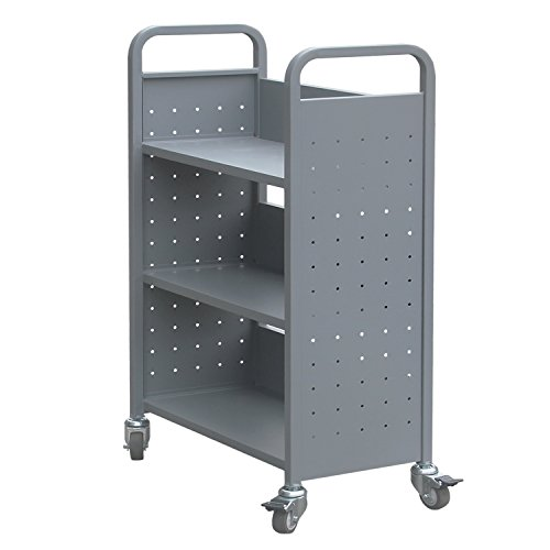 H&A Rolling Book Cart Home Office Library Book Truck Flat Storage Organizer Shelves 200lbs Capacity (Gray)