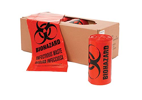 40' x 46' x 1.3 mil 40 to 45 Gallon Red Plastic Biohazard Infectious Waste Can Liners (10 Bags/roll, 10 Rolls/case)