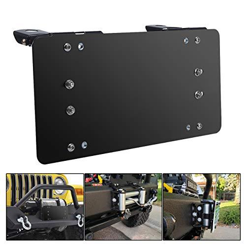 INVICTUS 8 3/4 Black Flip-up Winch Roller Fairlead License Mounting Bracket Stainless Steel License Plate Holder