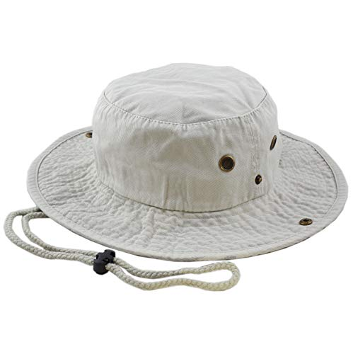 The Hat Depot 100% Cotton Stone-Washed Safari Wide Brim Foldable Double-Sided Outdoor Boonie Bucket Hat (S/M, Pigment - Sand)
