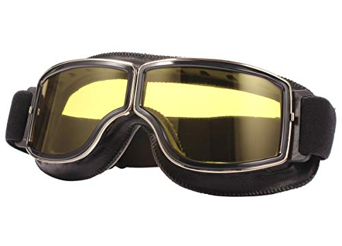 TYSKL Retro Pilot Motorcycle Goggles Fog-proof Warm Riding Goggles ATV Bike Motocross Glasses Protective Eyewear(A-black/Yellow Lens)