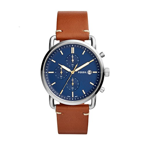 Fossil Men's The Commuter Quartz Chronograph Leather Watch, Color: Silver, Brown, 22 (Model: FS5401)