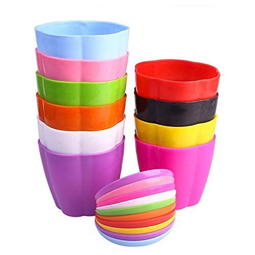 KINGLAKE 10 Pcs Plastic Plant Flower Seedlings Nursery Pots Colorful Flower Plant Container Seed Starting Pots with Pallet