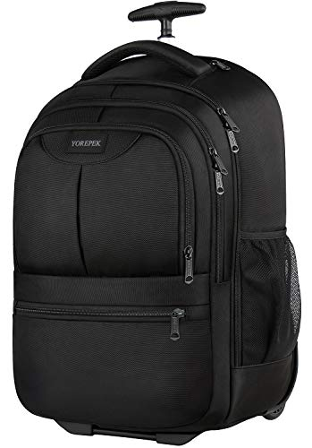 Large Rolling Backpack, Wheeled Laptop Backpack Fit 17 Inch Laptops for Women Men,Water Resistant Trolley Student Backpack, Carry on Luggage Suitcase Bag for Travel School Business,Black