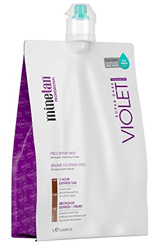 MineTan Spray Tan Solution - Violet Pro Spray Mist - Salon Professional 1 Hour Express Tan For A Rich, Warm Super Dark Tan, 33.8 fl oz