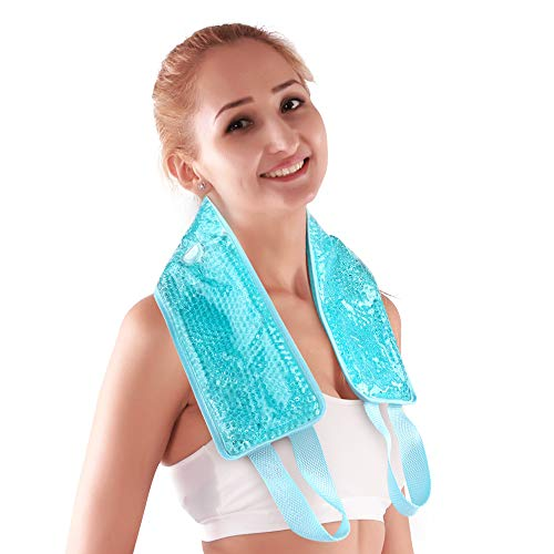 NEWGONeck Ice Pack Gel Ice Neck Wrap with Soft Plush Backing, Hot Cold Pack Gel Bead Ice Pack for Neck & Shoulder Pain Relief (24.8'x 4.13'- Blue