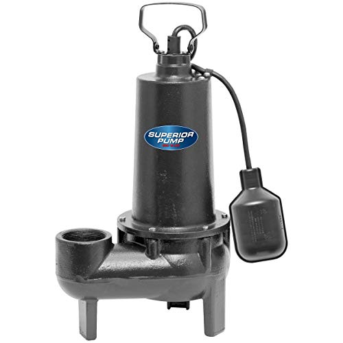 Superior Pump 93501 1/2 HP Cast Iron Sewage Pump with Tethered Float Switch