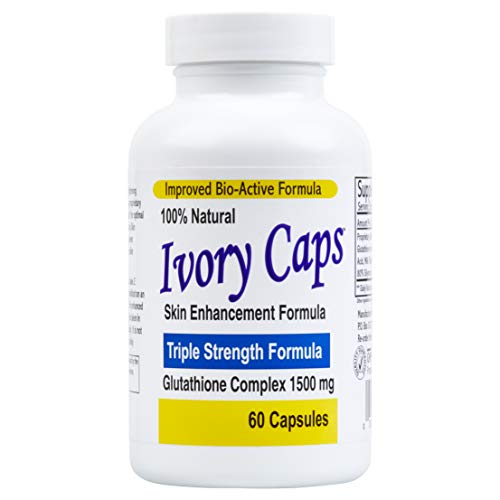 Ivory Caps - Maximum Potency 1500 mg Glutathione Skin Whitening Pills Complex, 60 Capsules