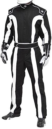 K1 Race Gear Triumph 2, Single Layer SFI-1 Proban Cotton Fire Suit (Black/White, X-Large)