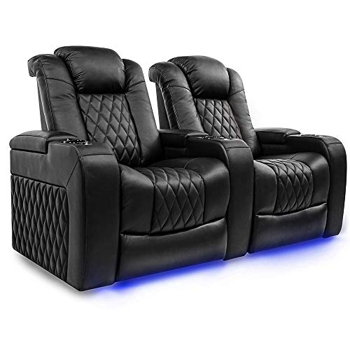 Valencia Tuscany Home Theater Seating | Top Grain Nappa Leather, Power Reclining, Power Lumbar Support, Power Headrest (Row of 2, Black)