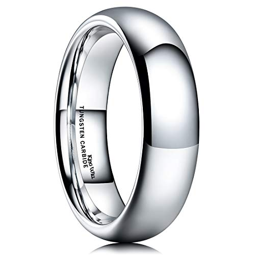 King Will Basic Men's 6mm High Polished Comfort Fit Domed Tungsten Carbide Ring Wedding Band 8.5