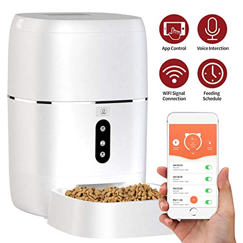 Automatic Pet Feeder, Smart Food Dispenser Dog Cat Feeder, Wi-Fi Enabled APP 6L Food Capacity with Voice Recorder for iOS and Android, Programmable Timer for up to 6 Meals per Day, Dual Power Mode