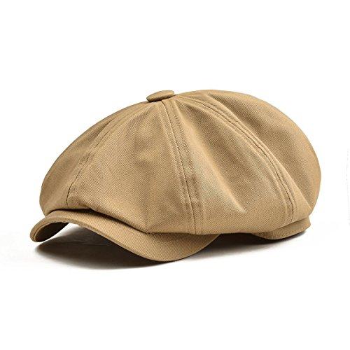 BOTVELA Men's 8 Piece Newsboy Flat Cap 100% Cotton Gatsby Ivy Golf Cabbie Hat (Khaki, L)
