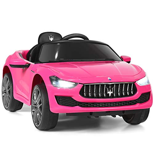 HONEY JOY Ride on Car, Licensed Maserati Gbili 12V Battery Powered Electric Car for Kids with 2 Motors, Remote Control, LED Lights, MP3, Horn, Music, Wheel Suspension, 2 Lockable Doors (Pink)