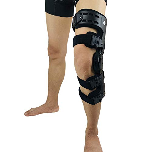 Orthomen OA Unloader Knee Brace - Lateral/Outside Support for Arthritis Pain, Osteoarthritis, Cartilage Defect Repair, Avascular Necrosis, Tibial Plateau Fracture (Left-Black)