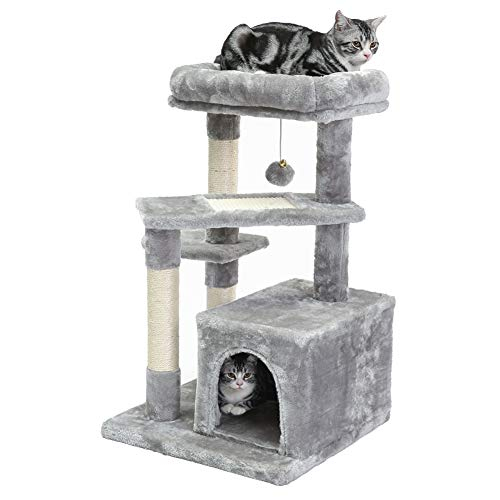 SUPERJARE Cat Tree with Extra Scratching Board & Posts, Kitten Tower Center with Plush Perch and Dangling Ball, Pet Play Condo Furniture - Gray