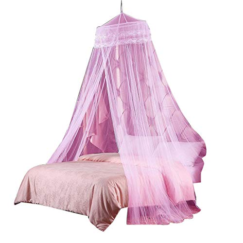 Round Hoop Double Lace Princess Mosquito Net Bed Canopy Fit Crib Twin Full Queen Pink