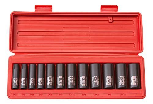 TEKTON 3/8-Inch Drive Deep Impact Socket Set, Inch, Cr-V, 6-Point, 5/16-Inch - 1-Inch, 12-Sockets | 47920