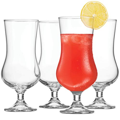 Bormioli Rocco (Set of 4) Cocktail Glasses Tulip Shaped - 17 Ounce Pina Colada Glass, Hurricane Glasses for Drinking Full Bodied Beer, Water, Juice, Lead-Free Bar Glass Italian Crafted Beer Glasses