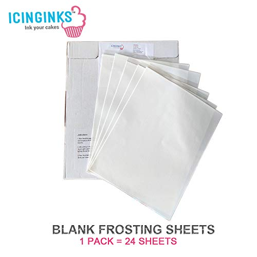 "Icinginks 24 Frosting Sheets 8.5"" X 11"", Icing Sheets for Cake Toppers, Cookies & Décor, A4 Very White Edible Paper, Cake Edible Paper for Birthdays, Parties, Edible Sugar Sheets for Printers"