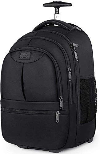 Rolling Backpack,Waterproof Wheeled Travel Backpack, Laptop Backpack for Women Men,Carry on Luggage Backpack Fit 15.6 inch Notebook, Trolley Suitcase Business Bag College Student Computer Bag,Black