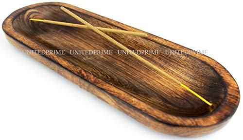 [INCENSEBURNER] Incense Burner Stick Holder Ash Catcher Wooden Handmade Modern Gift Wood Home Decor Size 11 X 4 X 1.2 Inches.