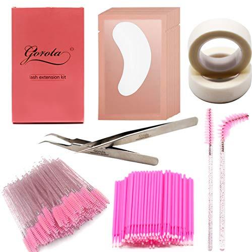 GOROTA Eyelash extension kit,including Stainless Steel Precision Tweezers Set|50 Disposable Mascara Brushes Wands|50 Pairs Under Eye Gel Pads|2 Medical Tapes|100 Micro Applicators Brush