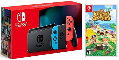 Nintendo Switch w/ Red & Blue Joy-Con + Animal Crossing (New Horizons) Game Bundle
