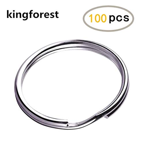 kingforest 100PCS Key Rings 1 Inch, Key Rings Metal Keychain Rings Split Keyrings Flat Ring for Home Car Office Keys Attachment