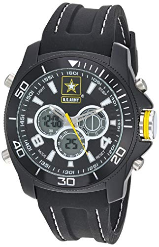 U.S. Army Men's Analog-Digital Chronograph Black Silicone Strap Watch by Wrist Armor, F2/1014