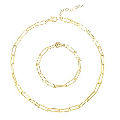 Reoxvo Gold Link Chain Necklace Bracelet Set for Women