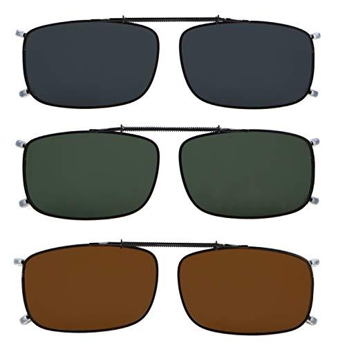 Eyekepper Grey/Brown/G15 Lens 3-pack Clip-on Polarized Sunglasses 2 1/16' x1 5/16'